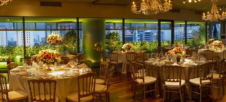Mesas de convidados decoração casamento Trio Pérgola