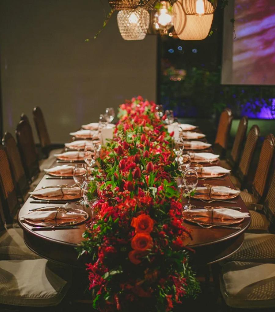 Mesa de jantar convidados casamento Trio Pérgola